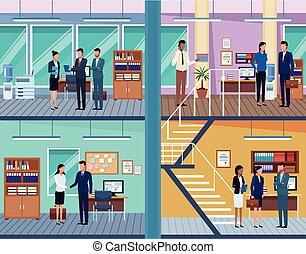 セット, オフィス, ビジネス 人々