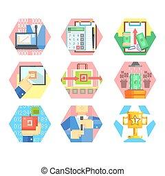 セット, オフィス, マーケティング, icons., ビジネス, ベクトル