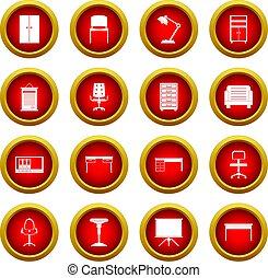 セット, オフィス, 円, 家具, 赤, アイコン