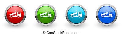 セット, オプション, アプリケーション, ゴミ捨て場, 現代, インターネット, ボタン, 背景, 4, 金属, 概念, デザイン, 色, 銀, グロッシー, トラック輸送, 交通機関, モビール, アイコン, 白, 隔離された, 網