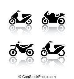 セット, -, オートバイ, 輸送, アイコン