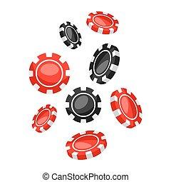 セット, カジノ, 下方に, 黒, 落ちる, チップ, 赤