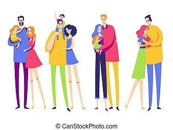 セット, カップル, children., love., 家族