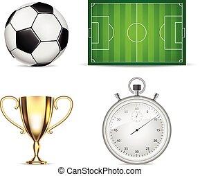 セット, カップ, アイコン, 隔離された, フィールド, ストップウォッチ, サッカーボール