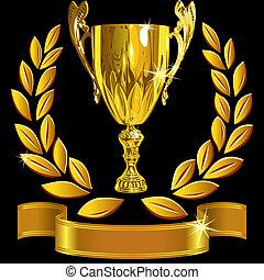 セット, カップ, 成功, 金, 花輪, 勝利, ベクトル, 黒, 背景, 月桂樹, 光沢がある, リボン