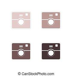 セット, カメラ, ペーパー, 背景, 白, ステッカー