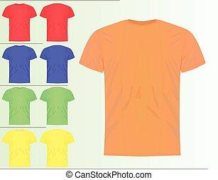 セット, カラフルである, クラシック, シャツ, テンプレート, t