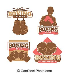 セット, カラフルである, クラブ, ボクシング, ラベル, ロゴ, 白
