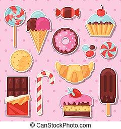 セット, カラフルである, ステッカー, キャンデー, 甘いもの, cakes.