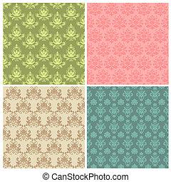 セット, カラフルである, ダマスク織, 壁紙, seamless, パターン, ベクトル