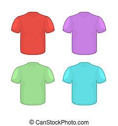 セット, カラフルである, パターン, バックグラウンド。, シャツ, きれいにしなさい, イラスト, 白, 衣類, あなたの, tシャツ, design.