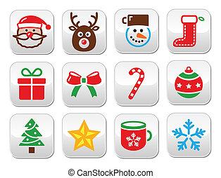 セット, カラフルである, -, ボタン, sa, クリスマス