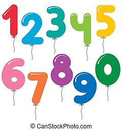 セット, カラフルである, 形づくられた, 数, ベクトル, 風船