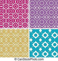 セット, カラフルである, 抽象的, seamless, パターン, lineart, 幾何学的