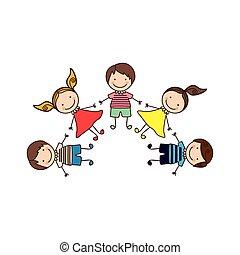 セット, カラフルである, 漫画, 手を持つ, 子供, 幸せ
