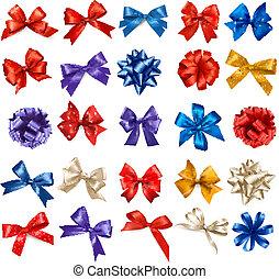 セット, カラフルである, 贈り物, 大きい, お辞儀をする, vector., ribbons.