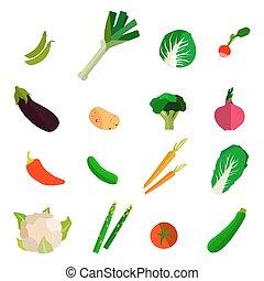 セット, カラフルである, 野菜, バックグラウンド。, ベクトル, 成果, 白