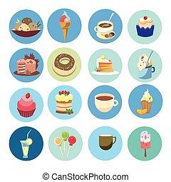 セット, カラフルである, 食物, 甘い, コレクション, デザート, ケーキ, アイコン