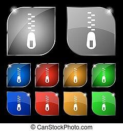 セット, カラフルである, 10, 印。, glare., ボタン, ベクトル, ジッパー, アイコン