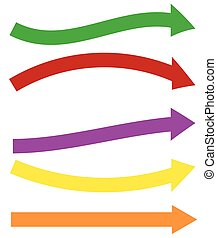 セット, カラフルである, shapes., 矢, 5, 矢, 長い間, 横