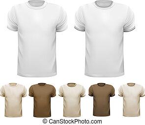 セット, カラフルである, shirts., vector., 白い男性