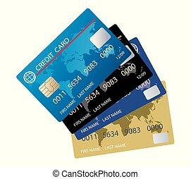 セット, カード, ベクトル, クレジット, 現実的