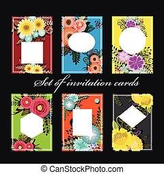 セット, カード, 招待