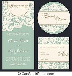 セット, カード。, 招待, 結婚式