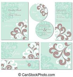 セット, カード, 招待, 結婚式