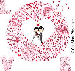 セット, カード, 結婚式