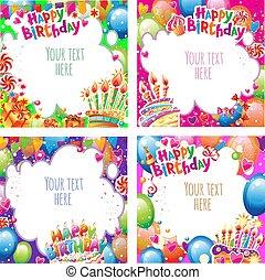 セット, カード, birthday, 場所, テキスト