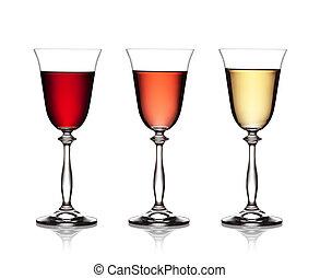 セット, ガラス, の, 赤, バラ, そして, 白ワイン, 上に, a, 白い背景, ., ∥, ファイル, 含む, a, 切り抜き, path.
