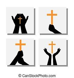 セット, キリスト教徒, アイコン, -, 交差点, ベクトル, 手を持つ