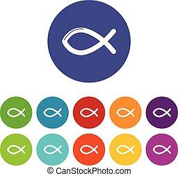 セット, キリスト教徒, アイコン, 色, fish, ベクトル, シンボル