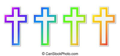 セット, キリスト教徒, 交差点, カラフルである, icons.