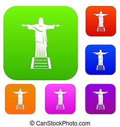 セット, キリスト, 色, コレクション, 救助者, 像