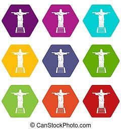 セット, キリスト, 色, hexahedron, 救助者, 像, アイコン