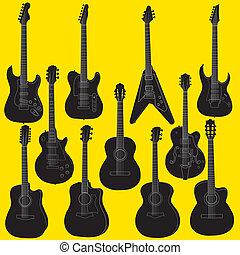セット, ギター, ベクトル