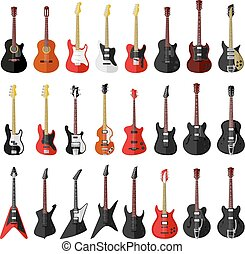 セット, ギター, 型, 隔離された