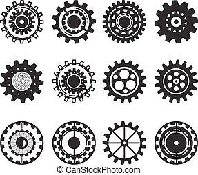 セット, ギヤ, 隔離された, コレクション, バックグラウンド。, gears., 車輪, 白