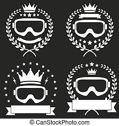 セット, クラブ, 型, 氷, ラベル, snowboarding, バッジ, ∥あるいは∥, スキー
