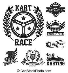 セット, クラブ, 要素, グラフィック, ロゴ, kart, レース, karting