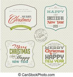 セット, クリスマスカード, 型