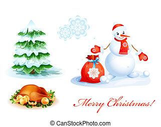 セット, クリスマス, アイコン