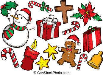 セット, クリスマス, カラフルである, 原料