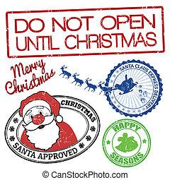セット, クリスマス, スタンプ
