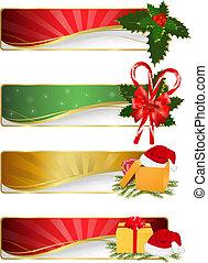 セット, クリスマス, 冬, banners.