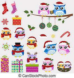 セット, クリスマス, 家族, フクロウ