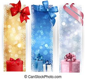 セット, クリスマス, 旗, 冬, イラスト