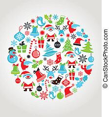 セット, クリスマス, 背景, アイコン